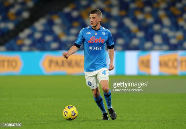Diego Demme of SSC Napoli during the Serie A match between SSC Napoli and Bologna FC at Stadio Diego Armando Maradona on March 07, 2021 in Naples,...