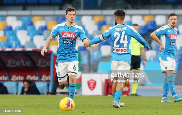 Diego Demme of SSC Napoli greets Lorenzo Insigne of SSC Napoli during the Coppa Italia match between SSC Napoli and Perugia on January 14 2020 in...