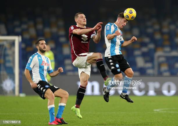 Diego Demme of SSC Napoli heads the ball during the Serie A match between SSC Napoli and Torino FC at Stadio Diego Armando Maradona on December 23,...