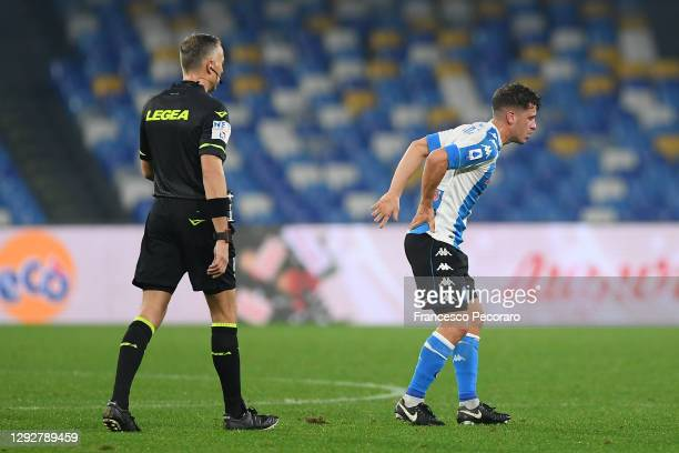 Diego Demme of SSC Napoli reacts during the Serie A match between SSC Napoli and Torino FC at Stadio Diego Armando Maradona on December 23, 2020 in...