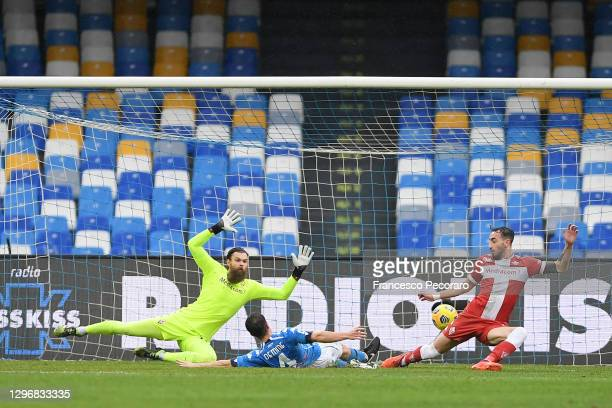 Diego Demme of S.S.C. Napoli scores their team's second goal past Bartlomiej Dragowski of Fiorentina during the Serie A match between SSC Napoli and...