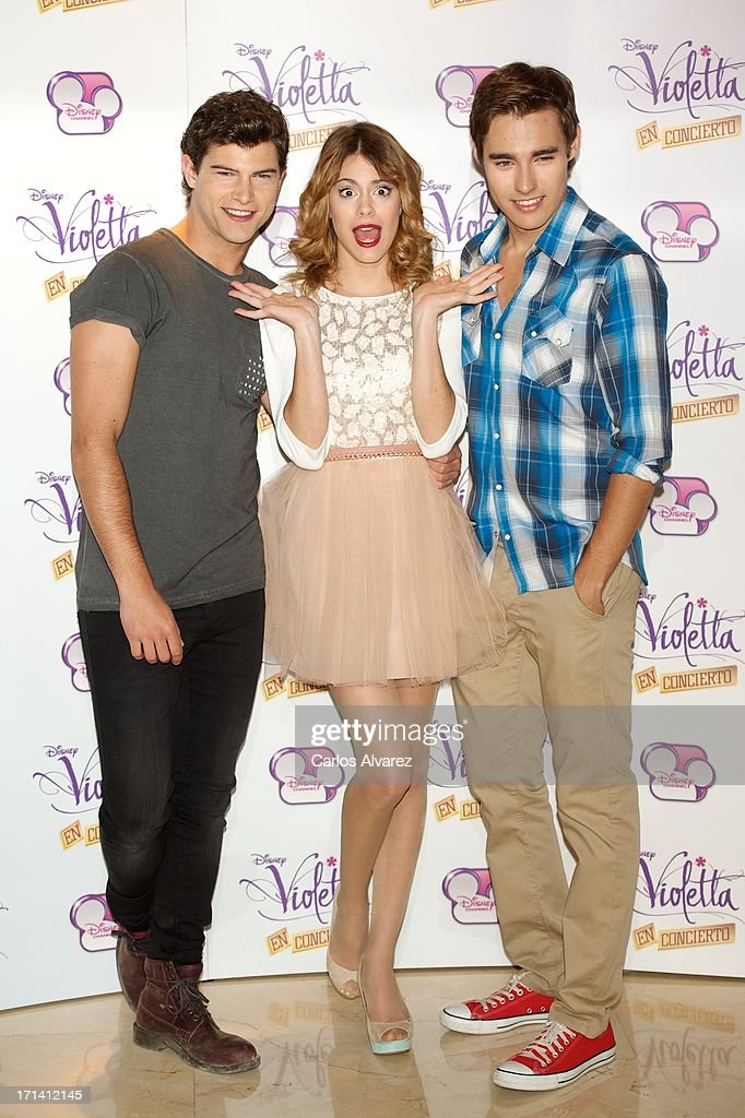 Diego Dominguez, Martina Stoessel and Jorge Blanco attend the 'Violetta' photocall at the Emperador Hotel on June 24, 2013 in Madrid, Spain.