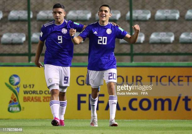 Diego Duarte and Diego Torres of Paraguay celebrate a scored goal during the FIFA U-17 Men's World Cup Brazil 2019 group F match between Solomon...