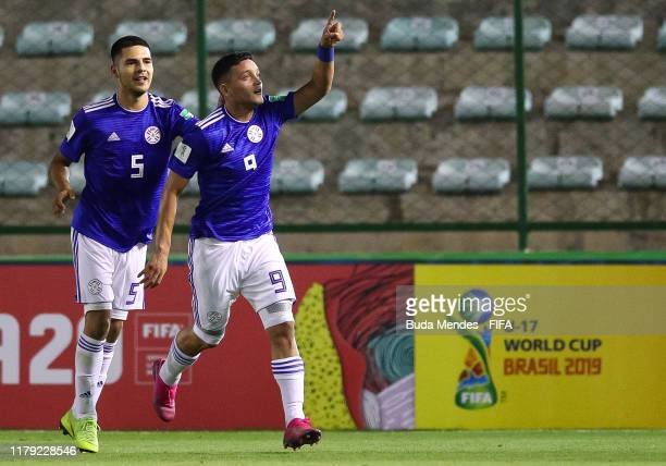 Diego Duarte and Rolando Ortiz of Paraguay celebrate a scored goal during the FIFA U17 Men's World Cup Brazil 2019 group F match between Solomon...