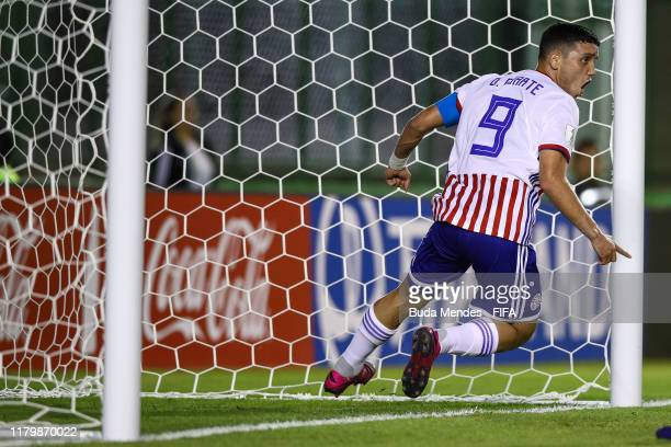Diego Duarte of Paraguay celebrates a scored goal during the FIFA U17 Men's World Cup Brazil 2019 group F match between Italy and Paraguay at Valmir...