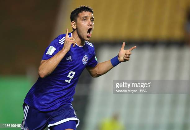 Diego Duarte of Paraguay celebrates the third goal for his team during the FIFA U17 World Cup Brazil 2019 round of 16 match between Paraguay and...