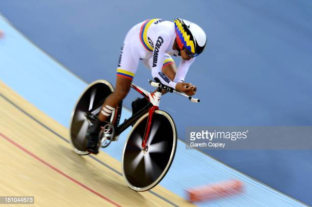 Diego Duenas Gomez of Columbia competes in Men's Individual C45 1km Cycling Time Trial final on day 2 of the London 2012 Paralympic Games at...