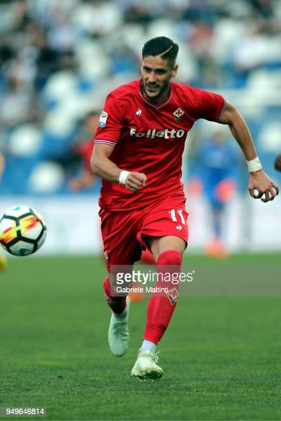 Diego Falcinelli of ACF Fiorentina in action during the serie A match between US Sassuolo and ACF Fiorentina at Mapei Stadium Citta' del Tricolore on...