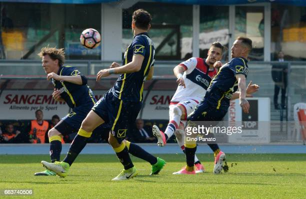 Diego Falcinelli of Crotone scores his teams second goal during the Serie A match between AC ChievoVerona and FC Crotone at Stadio Marc'Antonio...