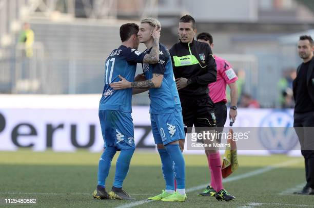 Diego Farias and Antonino La Gumina of Empoli FC in action during the Serie A match between Empoli and US Sassuolo at Stadio Carlo Castellani on...