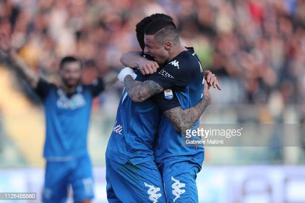 Diego Farias and Rade Krunic of Empoli FC celebrates after scoring a goal during the Serie A match between Empoli and US Sassuolo at Stadio Carlo...