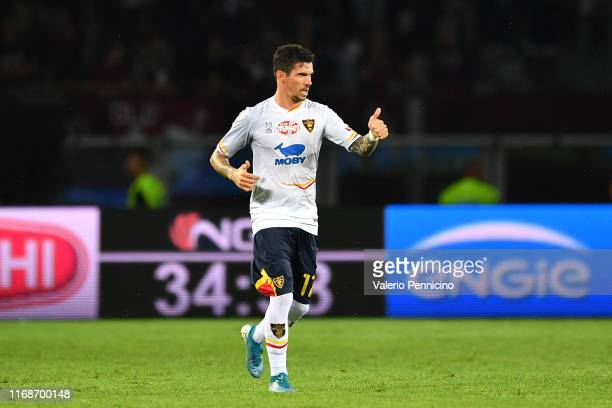 Diego Farias Da Silva of US Lecce celebrates the opening goal during the Serie A match between Torino FC and US Lecce at Stadio Olimpico di Torino on...