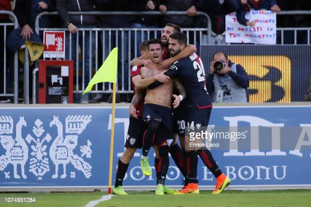 Diego Farias of Cagliari celebrates after scoring the first goal of his team during the Serie A match between Cagliari and Genoa CFC at Sardegna...