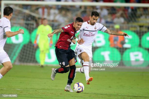 Diego Farias of Cagliari in action during the serie A match between Cagliari and AC Milan at Sardegna Arena on September 16 2018 in Cagliari Italy