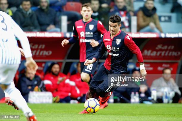 Diego Farias of Cagliari in action during the serie A match between Cagliari Calcio and Spal at Stadio Sant'Elia on February 4 2018 in Cagliari Italy