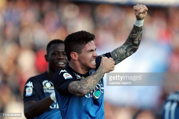 Diego Farias of Empoli FC celebrates after scoring a goal during the Serie A match between Empoli and US Sassuolo at Stadio Carlo Castellani on...