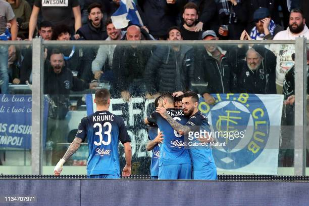 Diego Farias of Empoli FC celebrates after scoring a goal during the Serie A match between Empoli and SSC Napoli at Stadio Carlo Castellani on April...