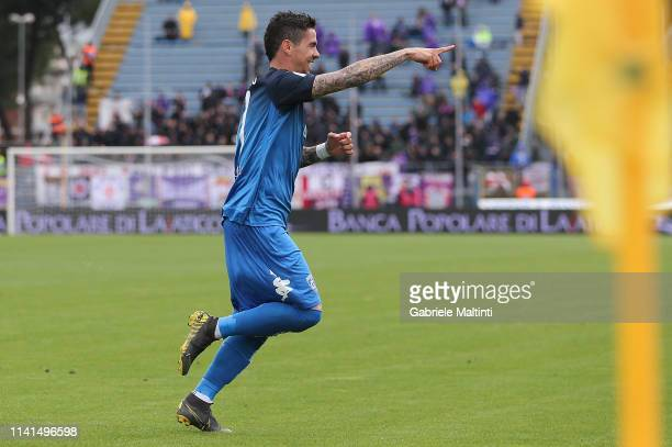 Diego Farias of Empoli FC celebrates after scoring a goal during the Serie A match between Empoli and ACF Fiorentina at Stadio Carlo Castellani on...