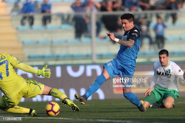 Diego Farias of Empoli FC scores a goal during the Serie A match between Empoli and US Sassuolo at Stadio Carlo Castellani on February 17 2019 in...