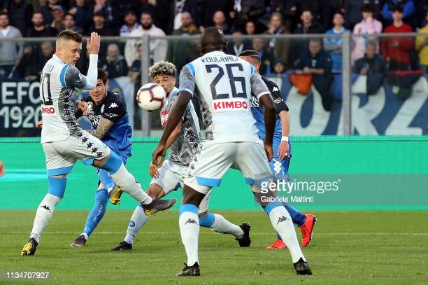 Diego Farias of Empoli FC scores the opening goal during the Serie A match between Empoli and SSC Napoli at Stadio Carlo Castellani on April 3 2019...