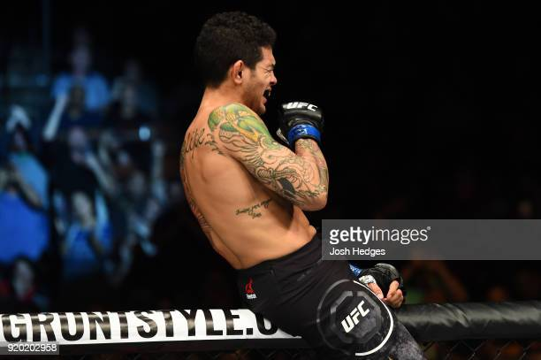 Diego Ferreira of Brazil celebrates after defeating Jared Gordon in their lightweight bout during the UFC Fight Night event at Frank Erwin Center on...