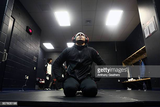 Diego Ferreira warms up backstage during the UFC Fight Night event at the Prudential Center on January 30 2016 in Newark New Jersey
