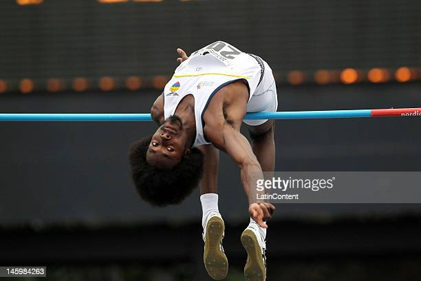 Diego ferrin from Ecuador competes in the jumping final of the first day of the Track and Field IberoAmerican Championship on June 08 2012 in...