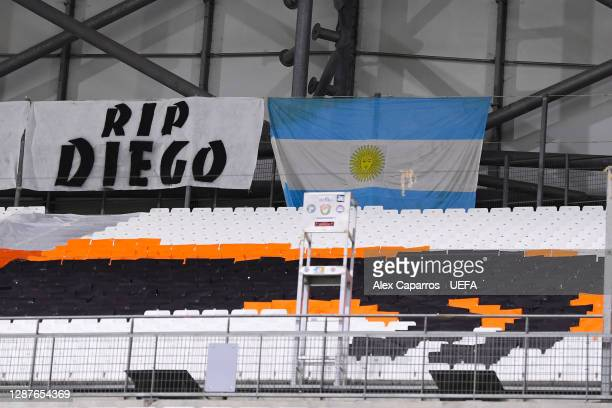 Diego flag is seen in memory of Diego Maradona prior to the UEFA Champions League Group C stage match between Olympique de Marseille and FC Porto at...
