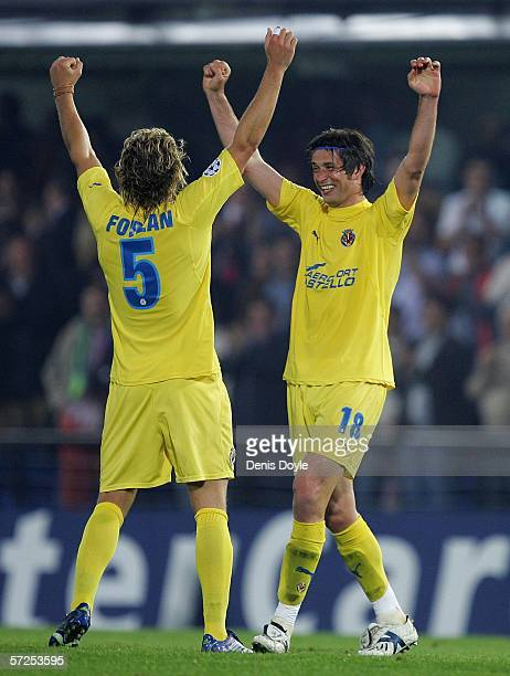 Diego Forlan and Alessio Tacchinardi of Villarreal celebrate after beating Inter Milan 10 in the UEFA Champions League Quarter Final Second Leg match...