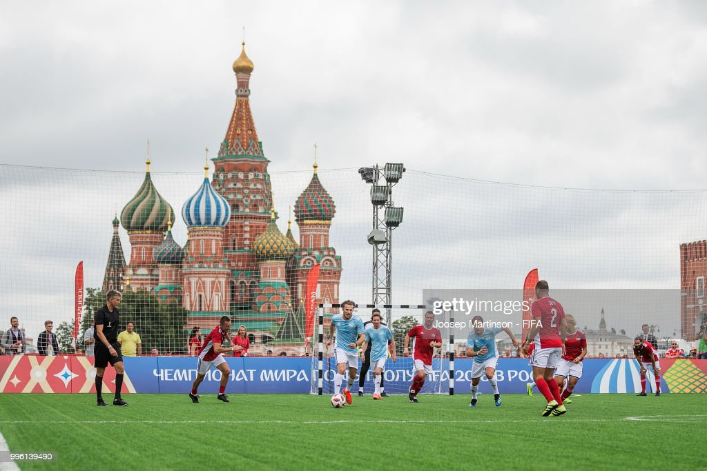 Diego Forlan controls the ball during the Legends Football Match in Red Square on July 11, 2018 in Moscow, Russia.