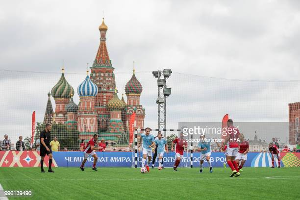 Diego Forlan speaks to the media during the Legends Football Match in Red Square on July 11 2018 in Moscow Russia