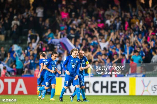 Diego Forlan Corazo of Kitchee SC celebrates with teammates for the team's goal shot by Cheng Chin Lung during the AFC Champions League Group E match...
