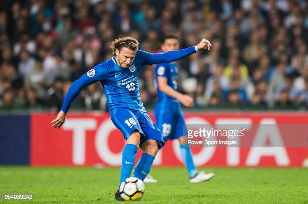 Diego Forlan Corazo of Kitchee SC in action during the AFC Champions League Group E match between Kitchee and Jeonbuk Hyundai Motors at the Hong Kong...