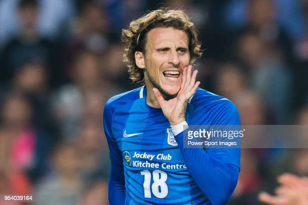 Diego Forlan Corazo of Kitchee SC reacts during the AFC Champions League Group E match between Kitchee and Jeonbuk Hyundai Motors at the Hong Kong...