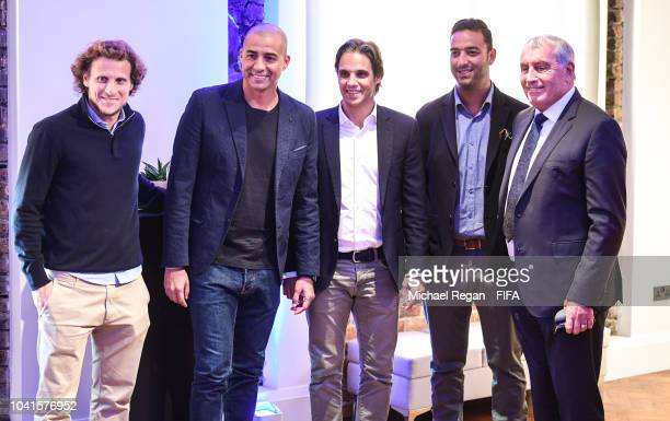 Diego Forlan David Trezeguet Nuno Gomes Mido and Peter Shilton during the Legends Think Tank Meeting prior to The Best FIFA Football Awards at London...