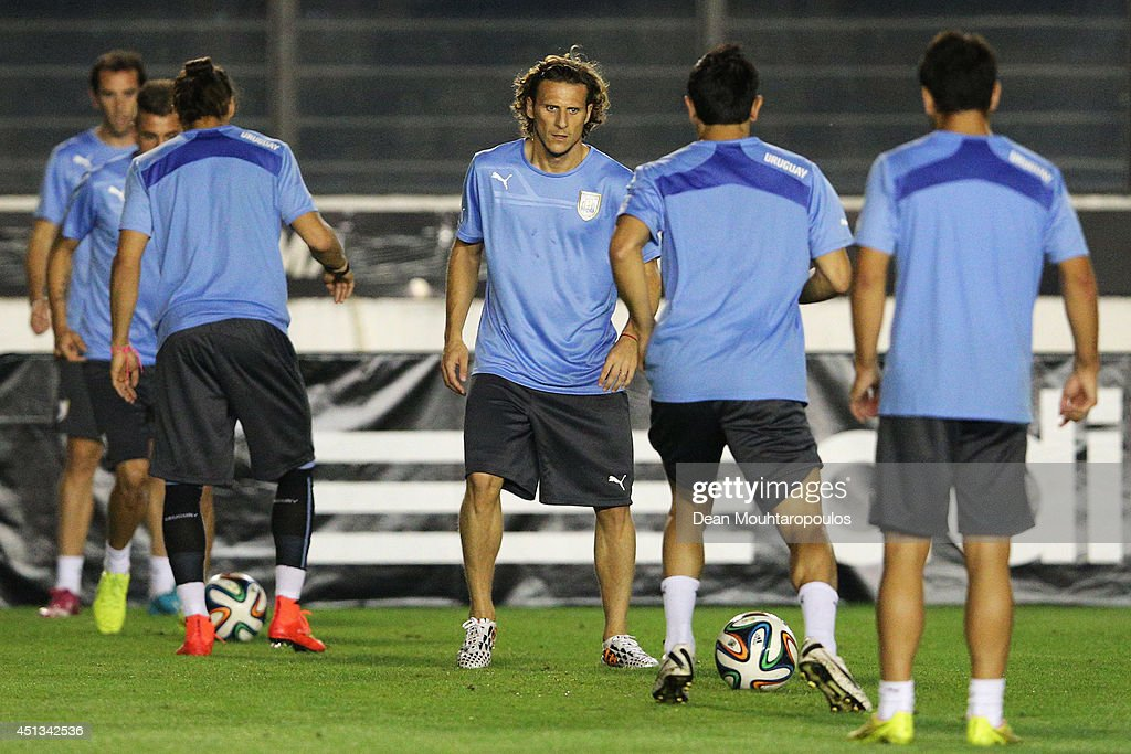 Diego Forlan in action during the first Uruguay training session since team mate Luis Suarez was suspended by FIFA at the 2014 FIFA World Cup held at Sao Januario Stadium on June 27, 2014 in Rio de Janeiro, Brazil.