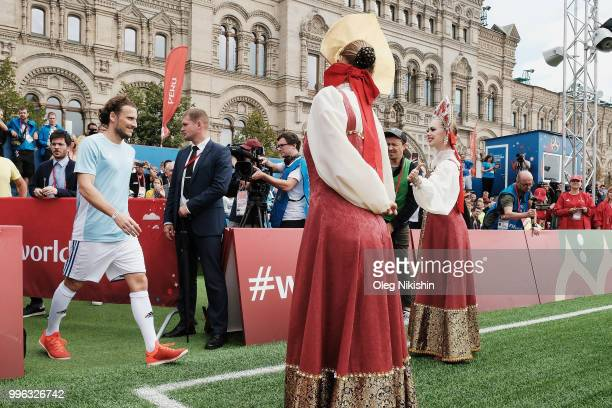 Diego Forlan is being greeted during the Legends Football Match in 'The park of Soccer and rest' at Red Square on July 11 2018 in Moscow Russia