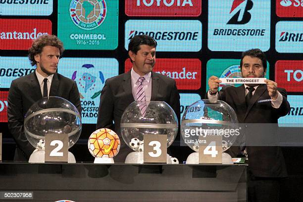 Diego Forlan Jose Cardozo and Hugo Figueredo participate during the Copa Libertadores 2015 Draw at CONMEBOL Convention Center on December 22 2015 in...