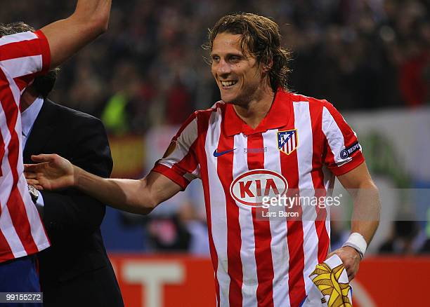 Diego Forlan of Atletico Madrid celebrates their victory after the UEFA Europa League final match between Atletico Madrid and Fulham at HSH Nordbank...