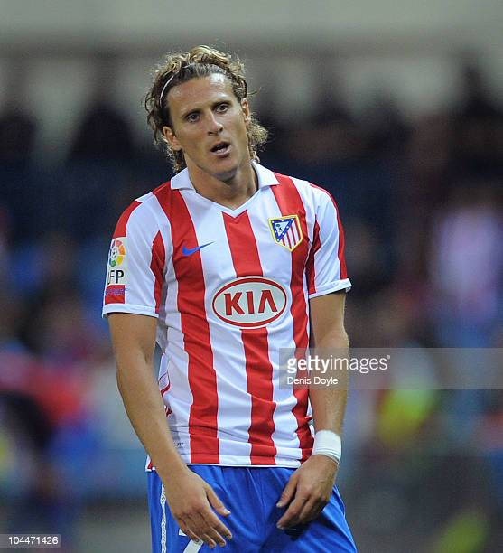 Diego Forlan of Atletico Madrid during the La Liga match between Atletico Madrid and Real Zaragoza at the Vicente Calderon stadium on September 26...