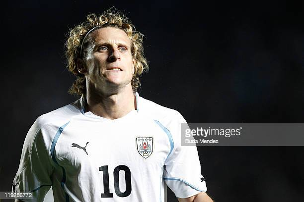 Diego Forlan of Uruguay during a match as part of Copa America 2011 Quarter Final at Brigadier Estanislao Lopez Stadium on July 16 2011 in Santa Fe...