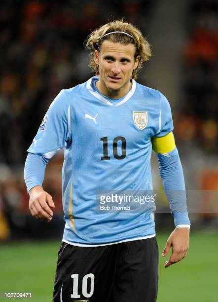 Diego Forlan of Uruguay during the 2010 FIFA World Cup South Africa Semi Final match between Uruguay and the Netherlands at Green Point Stadium on...