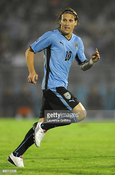 Diego Forlan of Uruguay in action duing the 2010 FIFA World Cup Play Off Second Leg Match between Uruguay and Costa Rica at The Estadio Centenario on...