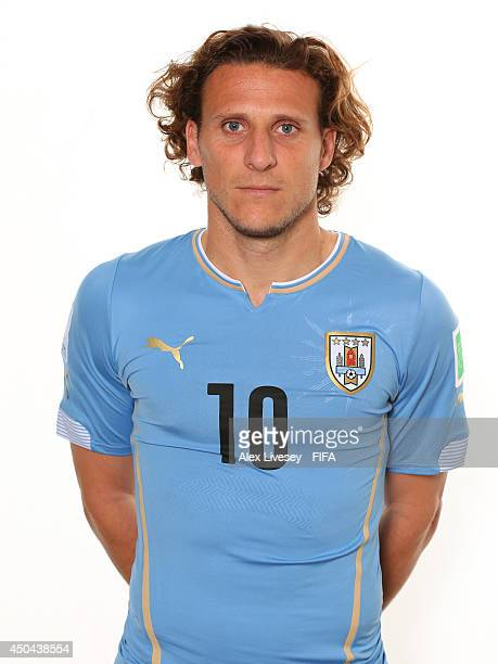 Diego Forlan of Uruguay poses during the official FIFA World Cup 2014 portrait session on June 10 2014 in Belo Horizonte Brazil