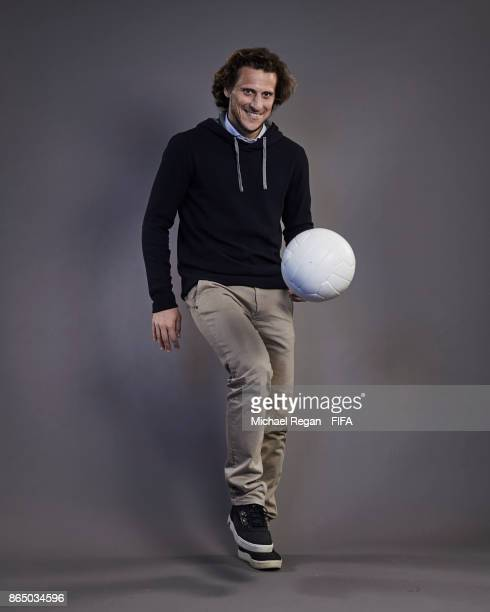 Diego Forlan of Uruguay poses prior to The Best FIFA Football Awards at The May Fair Hotel on October 22 2017 in London England
