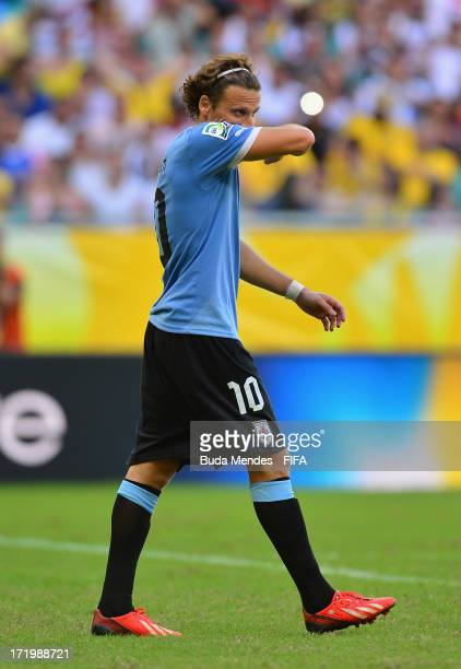 Diego Forlan of Uruguay reacts to missing a penalty during a shootout during the FIFA Confederations Cup Brazil 2013 3rd Place match between Uruguay...