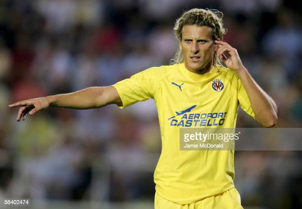 Diego Forlan of Villarreal looks on during the UEFA Champions League, Group D match between Villarreal and Manchester United at the Campo Municipal...