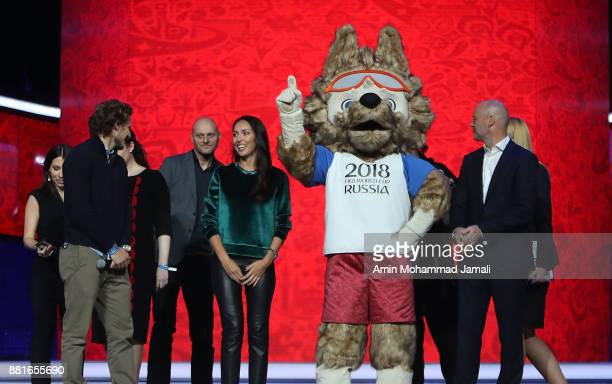 Diego Forlan on stage with the 2018 World Cup mascot during the Behind the Scenes of the Final Draw for the 2018 FIFA World Cup at the Draw hall on...