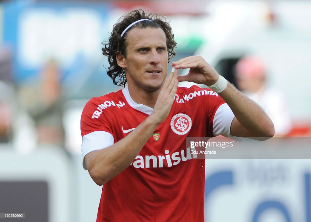 Diego Forlan, player of Internacional celebrates a goal during a match between Gremio and Internacional as part of the Gaucho championship at Centenario stadium on February 24, 2013 in Caixas Do Sul, Brazil.