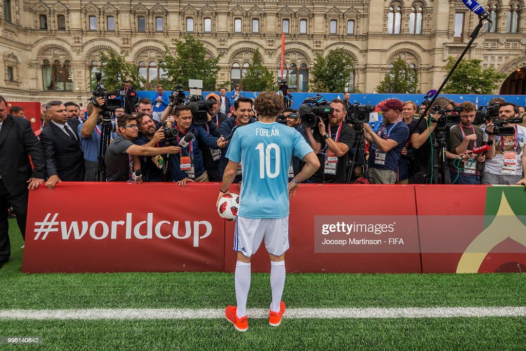 Diego Forlan speaks to the media during the Legends Football Match in Red Square on July 11, 2018 in Moscow, Russia.